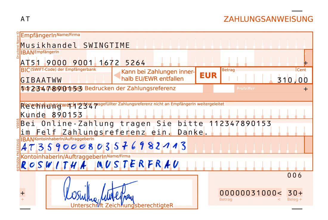 STUZZA - Zahlen mit System - Zahlungsbelege