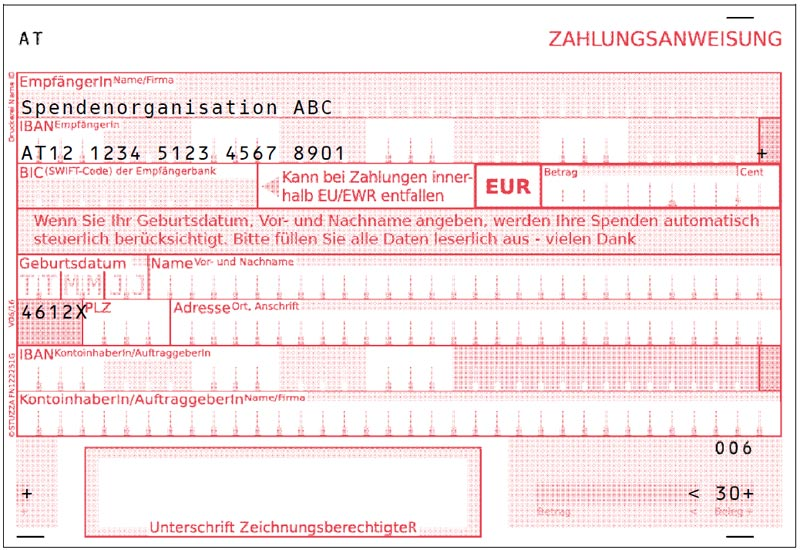 In Addition To The Standard Payment Slips There Are Also Donation Payment  Slips. This Offers The Possibility To Fill In The Date Of Birth Of New  Donors And ...  Payment Slips